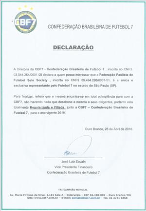 Certificado de Filiação 2016