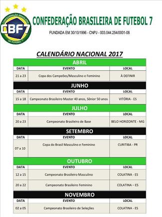 CBF7 divulga seu calendário para os eventos de 2017