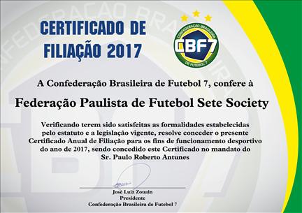 CERTIFICADO  DE  FILIAÇÃO  2017