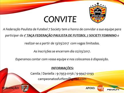 1a Taça Federação Paulista de Futebol 7 Society  Feminino