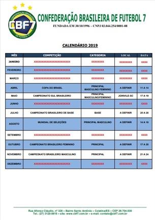 Calendário CBF7